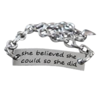 """She Believed She Could So She Did"" Bracelet"